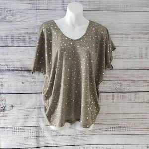 Pebble and Stone Tan and Star Short Sleeve Top S